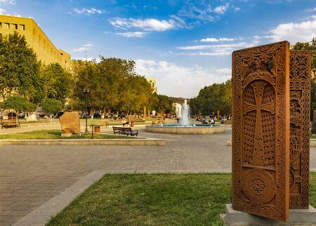 Yerevan , Armenia - August 16, 2019 : Khachkar tombstone landmark of Yerevan capital city of Armenia