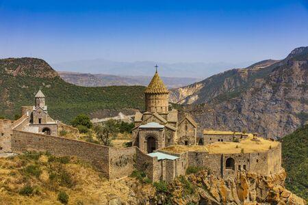 Tatev monastery panorama landscape mountains landmark of Syunik province Armenia eastern Europe