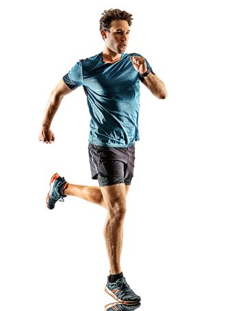 one caucasian runner running jogger jogger young man in studio isolated on white background Standard-Bild