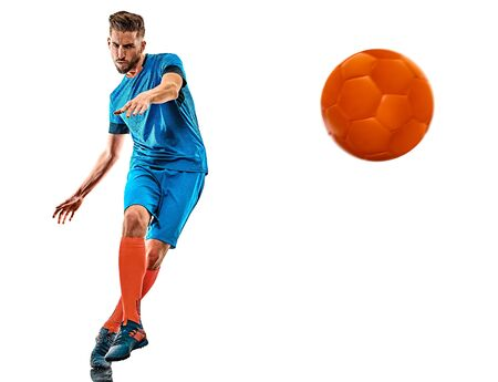 one caucasian youg soccer player man standing in studio isolated on white background Stock Photo