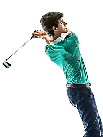 one young caucasian Man Golf golfer golfing isolated on white background Stock fotó