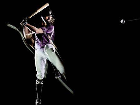 baseball player man isolated black background light painting