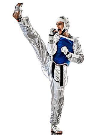 Taekwondo fighter man isolated white background Stock Photo