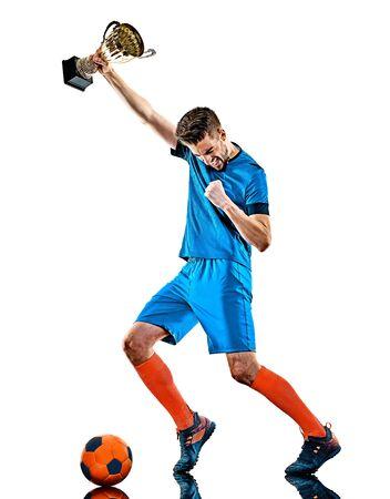 junger Fußballspieler Mann isoliert auf weißem Hintergrund stehend Standard-Bild