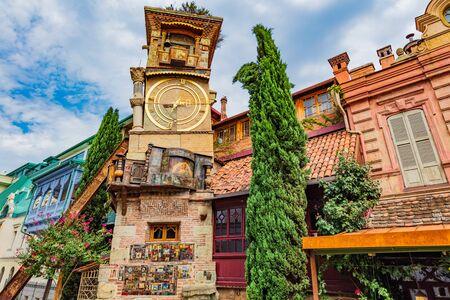 The Leaning Clock Tower Tbilisi Georgia Europe landmark 스톡 콘텐츠