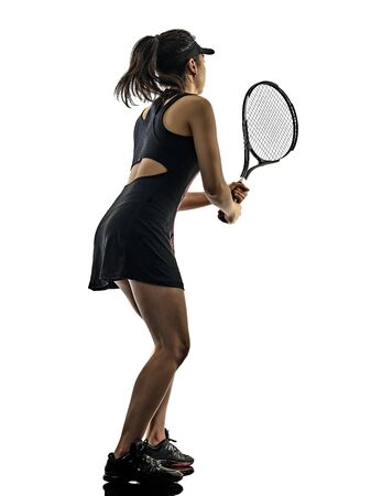 one young tennis player asian woman isolated in studio silhouette on white brackground Imagens