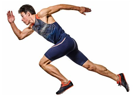young man athletics runner running sprinter sprinting isolated white background Stock Photo