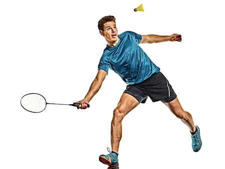 Badminton player young man isolated white background
