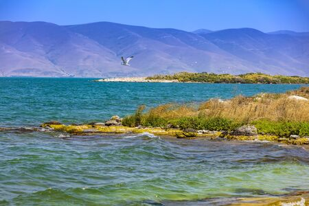 Lake Sevan panorama landscape Gegharkunik Armenia landmark
