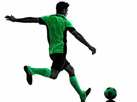 young soccer player man silhouette shadow isolated white background