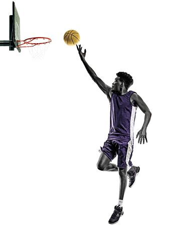 african basketball player young man isolated white background Standard-Bild