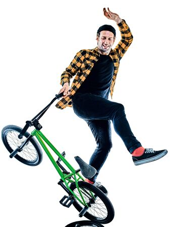 BMX rider cyclist cycling freestyle acrobatic stunt isolated white background Stok Fotoğraf