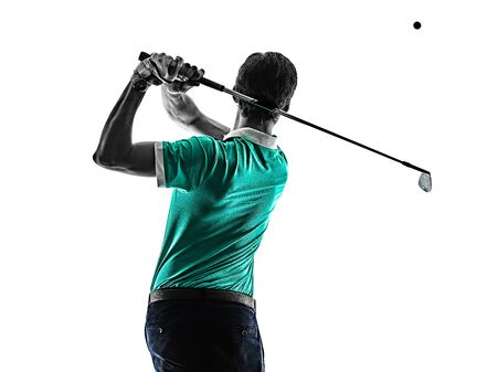 Man Golf golfer golfing isolated shadow silhouette white background