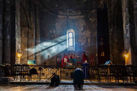 mass service Tatev monastery Syunik Armenia landmark