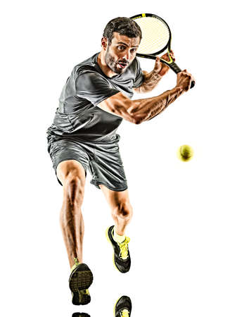 mature tennis player man backhand silhouette full length isolated white background