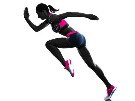 young woman runner running jogger jogging athletics isolated white background