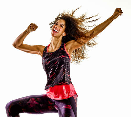 woman cardio dancer dancing fitness fitness exercises isolated white background