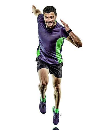 mature man running runner jogging jogger isolated white background Stock Photo - 150829822
