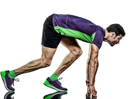 mature man running runner jogging jogger isolated white background