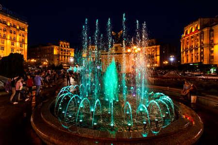 musical fountains Maidan square Kiev Ukraine Landmark Stock Photo
