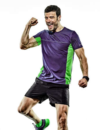 mature man running runner jogging jogger isolated white background Stock Photo - 150829826