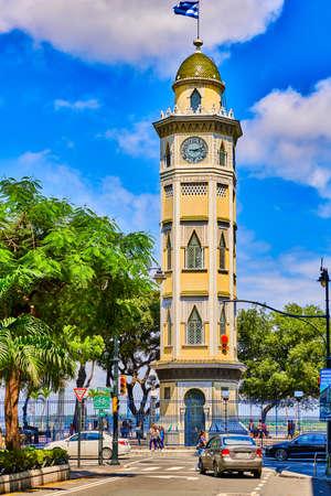 Guayaquil , Ecuador- March 7 , 2020 : Moorish style clock Morisca Tower landmark of Malecon area