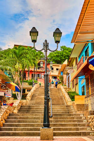 Guayaquil , Ecuador- March 7 , 2020 : colorful pedestrian street of Las Penas on santa Anna hill district landmark of Guayaquil Ecuador in south america Stock Photo - 150995184