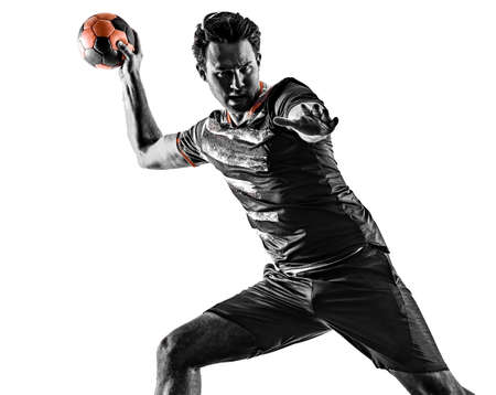 young court handball player man silhouette shadow isolated white background Stock Photo - 151546449