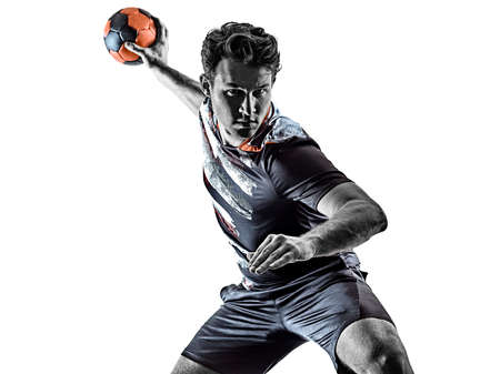 young court handball player man silhouette shadow isolated white background Stock Photo - 151538849