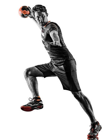 young court handball player man silhouette shadow isolated white background