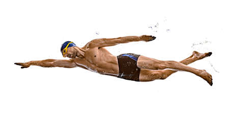 man sport swimmer swimming isolated white background Stock Photo - 151546453