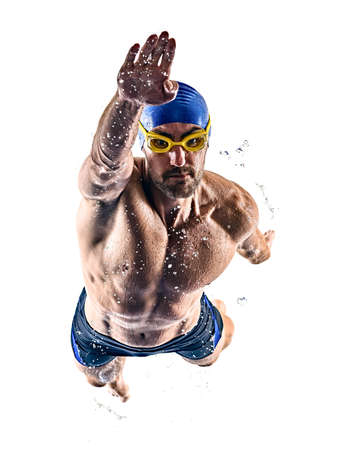 man sport swimmer swimming isolated white background
