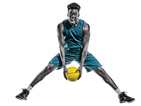 african basketball player young man isolated white background Stock Photo - 151546458