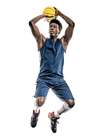african basketball player young man isolated white background Stock Photo