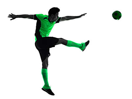 young soccer player man silhouette shadow isolated white background Stock Photo - 151546466