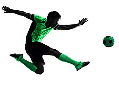young soccer player man silhouette shadow isolated white background Stock Photo - 151539618
