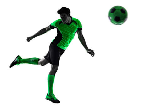 young soccer player man silhouette shadow isolated white background Stock Photo