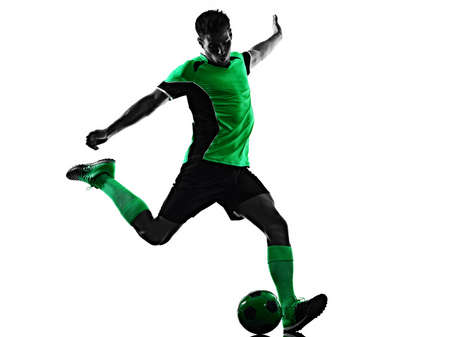 young soccer player man silhouette shadow isolated white background Stock Photo - 151539662