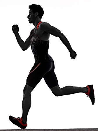 young man athletics runner running sprinter sprinting isolated white background