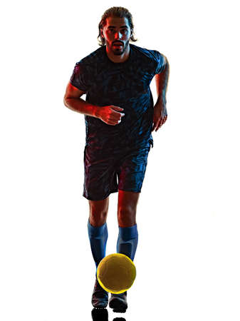 young soccer player isolated white background silhouette shadow