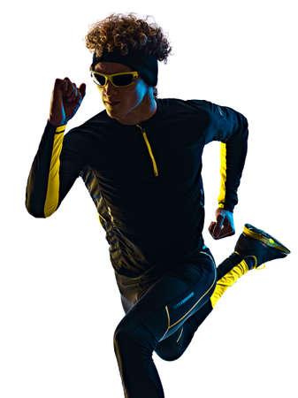 youg runner jogger running jogging man silhouette isolated white background Imagens