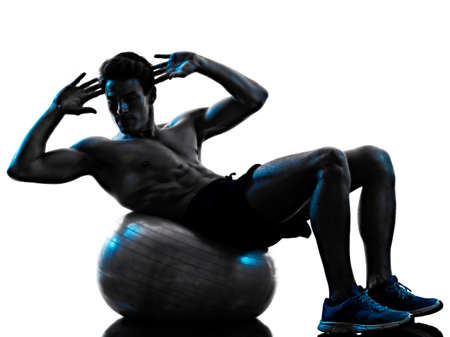 young man fitness weight exercise shadow isolated white background silhouette
