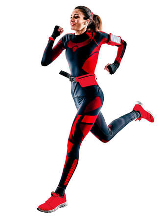 woman runner running jogger jogging jumpsuit isolated white background Imagens