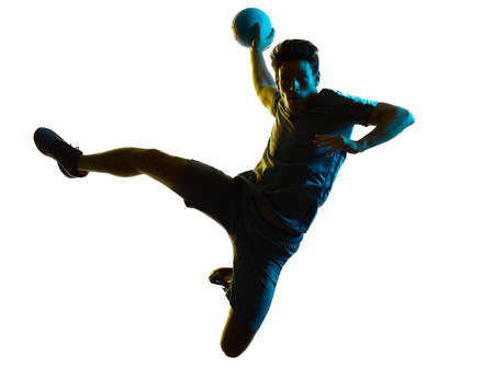 handball player man silhouette shadow isolated white background