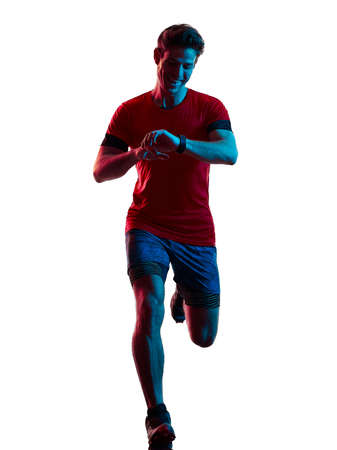 trail cross country runner running man silhouette shadow isolated white background