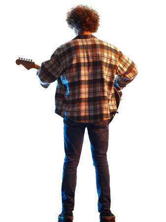 young man guitar player shadow silhouette isolated white background Imagens