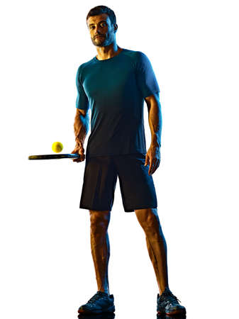 mature man Tennis Player shadow silhouette isolated white background