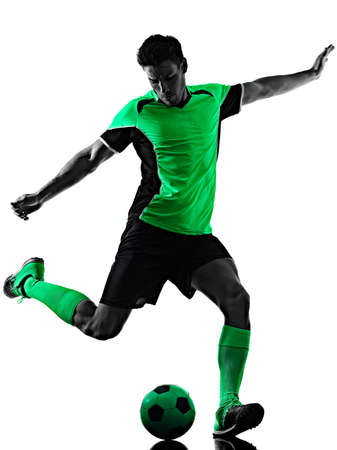 young soccer player man silhouette shadow isolated white background Imagens