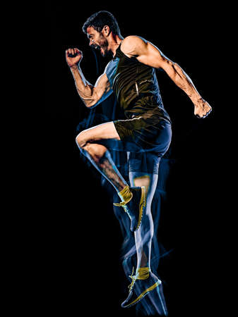 fitness cardio boxing exercise body combat man isolated black background