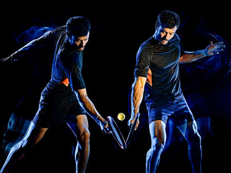Tennis player man light painting isolated black background